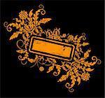 Grunge paint flower frame with blots, element for design, vector illustration