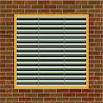 Illustration of brown brick wall with metal vent in the middle Stock Photo - Royalty-Free, Artist: icholakov                     , Code: 400-04462095