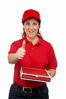 fat italian woman - A pizza delivery woman holding a hot pizza. Isolated on white and success gesture Stock Photo - Royalty-Freenull, Code: 400-04467936