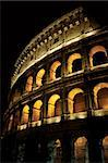 The Colosseum in Rome, Italy at night.