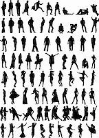 every silhouette is on a different layer; the outlines are accurate closed paths Stock Photo - Royalty-Freenull, Code: 400-04477726