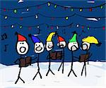 A child like drawing of a group of christmas carolers with lights Stock Photo - Royalty-Free, Artist: Leaf                          , Code: 400-04478957