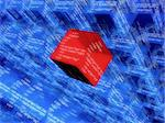 3d rendered illustration of blue and red digital cubes