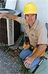 A handsome, competent looking air conditioning repairman Stock Photo - Royalty-Free, Artist: lisafx                        , Code: 400-04485138
