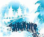 Christmas composition with silhouettes dancing Stock Photo - Royalty-Free, Artist: dip                           , Code: 400-04485620