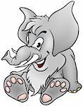 Gray Mammoth - detailed cartoon illustration as vector Stock Photo - Royalty-Free, Artist: derocz                        , Code: 400-04486569