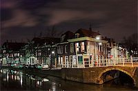 Hooikade harbour in Delft by night Stock Photo - Royalty-Freenull, Code: 400-04487522