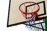 Basketball Ring Hoop with net and sky background - with copy space Stock Photo - Royalty-Free, Artist: fiftycents                    , Code: 400-04487713