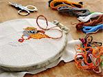 embroidery with colorful threads Stock Photo - Royalty-Free, Artist: DLeonis                       , Code: 400-04492126