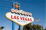 Welcome to fabulous Las Vegas sign with some amazing electrical wiring and American flag in background Stock Photo - Royalty-Free, Artist: oralleff                      , Code: 400-04493695