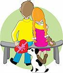 A boy and girl sitting on a bench - a little dog is handing the boy a box of chocolates to give to the girl Stock Photo - Royalty-Free, Artist: mkoudis, Code: 400-04493881