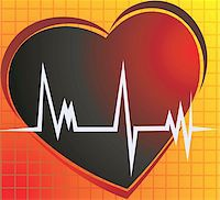 Illustration of a heart and heart pulses Stock Photo - Royalty-Freenull, Code: 400-04496396