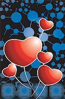 Illustration of a heart symbol in blue and black backgrounds Stock Photo - Royalty-Freenull, Code: 400-04496419