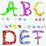preschool elements: letters, animals, numbers Stock Photo - Royalty-Free, Artist: dip                           , Code: 400-04496741