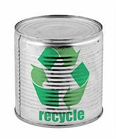 food tin can with recycle symbol isolated on white background Stock Photo - Royalty-Free, Artist: kmit, Code: 400-04497895