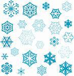 various stylized designs of snowflakes for winter illustration Stock Photo - Royalty-Free, Artist: dip                           , Code: 400-04504808