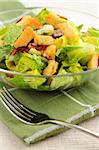Fresh caesar salad with croutons and bacon bits served in a glass bowl Stock Photo - Royalty-Free, Artist: Elenathewise                  , Code: 400-04513141