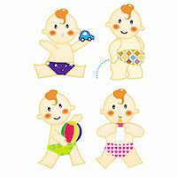 A series of baby action, playing car & ball, pee, drinking milk, vector, illustration Stock Photo - Royalty-Freenull, Code: 400-04513314