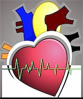 Illustration of heart with pulse graph Stock Photo - Royalty-Freenull, Code: 400-04514239