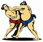 Illustration on the Japanese sport of sumo wrestling Stock Photo - Royalty-Free, Artist: patrimonio                    , Code: 400-04522201