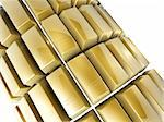 3d gold bars array on white background