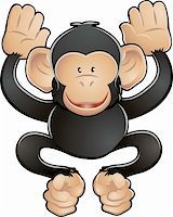 smiling chimpanzee -   A vector illustration of a cute friendly chimpanzee   Stock Photo - Royalty-Freenull, Code: 400-04523979