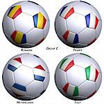 Four soccer-balls with flags of the countries in Group C in the European championship 2008. Hi-res 3D render with clipping path. Stock Photo - Royalty-Free, Artist: Bestmoose                     , Code: 400-04525023