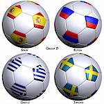 Four soccer-balls with flags of the countries in Group D in the European championship 2008. Hi-res 3D render with clipping path. Stock Photo - Royalty-Free, Artist: Bestmoose                     , Code: 400-04525024