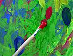 close up on a brush over an abstracting painting Stock Photo - Royalty-Free, Artist: marcusarm                     , Code: 400-04525441