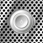 Power button over square metallic look surface Stock Photo - Royalty-Free, Artist: pnog                          , Code: 400-04528823