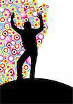 Winner woman silhouette over a colored circles background Stock Photo - Royalty-Free, Artist: pnog                          , Code: 400-04528828