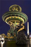 Source of the Place of Concorde at night, Paris (France) Stock Photo - Royalty-Freenull, Code: 400-04529850