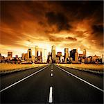 Highway heading to the city Stock Photo - Royalty-Free, Artist: kwest                         , Code: 400-04530481