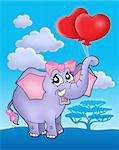 Color illustration of elephant girl with heart balloons on blue sky. Stock Photo - Royalty-Free, Artist: clairev                       , Code: 400-04531963
