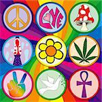 Nine 60s icons on a rainbow background on three layers for easy separation and editing Stock Photo - Royalty-Free, Artist: adroach                       , Code: 400-04532266