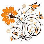 Floral background with bud, element for design, vector illustration