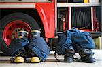 Firefighter's boots and trousers in a fire station Stock Photo - Royalty-Free, Artist: MonkeyBusinessImages          , Code: 400-04536499