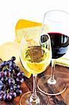 Wineglasses with red and white wine and assorted cheeses Stock Photo - Royalty-Free, Artist: Elenathewise                  , Code: 400-04538166