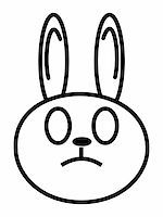 sgame - outline cartoon head of rabbit isolated on white background Stock Photo - Royalty-Freenull, Code: 400-04543134