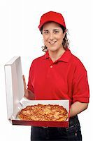 fat italian woman - A pizza delivery woman holding a hot pizza. Isolated on white Stock Photo - Royalty-Freenull, Code: 400-04543266