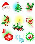 vector illustration  of assorted christmas icons Stock Photo - Royalty-Free, Artist: shadow216                     , Code: 400-04544291