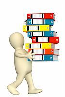 3d puppet, carrying folders with documents Stock Photo - Royalty-Freenull, Code: 400-04545023