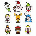 stilized illustration of christmas characters Stock Photo - Royalty-Free, Artist: welburnstuart                 , Code: 400-04545121