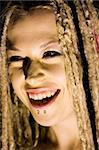 Laughing Woman with Face Piercings and Dread Lock Hair Stock Photo - Royalty-Free, Artist: surpasspro                    , Code: 400-04545795