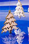 holiday series: golden Christmas fir with  blue reflected background Stock Photo - Royalty-Free, Artist: agg                           , Code: 400-04548288
