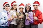 Portrait of business partners wearing Santa caps and holding flutes with champagne Stock Photo - Royalty-Free, Artist: pressmaster                   , Code: 400-04550732