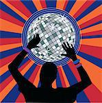 Glowing disco ball and dancer hands with bracelets Stock Photo - Royalty-Free, Artist: BooblGum                      , Code: 400-04552158