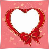 Heart with bow from red ribbon  on a pink background Stock Photo - Royalty-Freenull, Code: 400-04555365