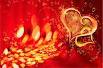 Two casebound hearts, on an ablaze background, around little hearts and stars Stock Photo - Royalty-Free, Artist: Rashevskaya                   , Code: 400-04555599
