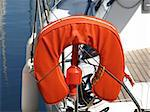 image of an orange buoy on a yacht Stock Photo - Royalty-Free, Artist: jbouzou                       , Code: 400-04556311